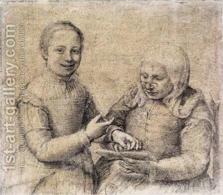 Old Woman Studying the Alphabet with a Laughing Girl by Sofonisba Anguissola - Reproduction Oil Painting