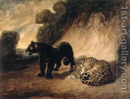 Two Jaguars from Peru by Antoine-louis Barye - Reproduction Oil Painting