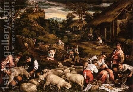Summer (Sacrifice of Isaac) by Jacopo Bassano (Jacopo da Ponte) - Reproduction Oil Painting