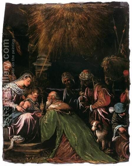 Adoration of the Magi 2 by Jacopo Bassano (Jacopo da Ponte) - Reproduction Oil Painting