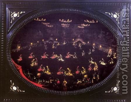 Nocturnal Carousel in the Amphitheatre of the Boboli Gardens by Stefano della Bella - Reproduction Oil Painting
