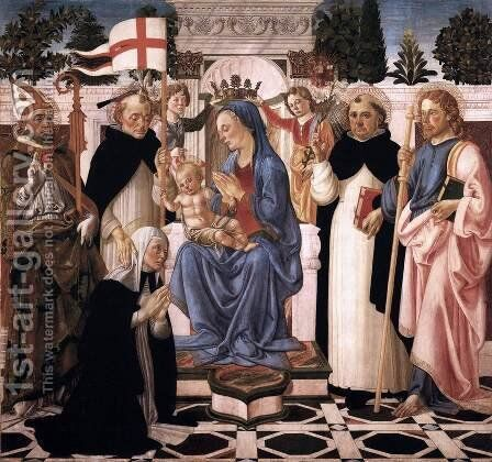 Virgin and Child Enthroned with Five Saints and Two Angels by Biagio D'Antonio - Reproduction Oil Painting