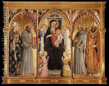 Madonna and Child with Saints and Angels by Bicci Di Lorenzo - Reproduction Oil Painting