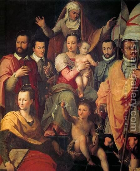 Virgin and Child with St Anne and Members of the Medici Family as Saints by Giovanni Maria Butteri - Reproduction Oil Painting