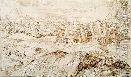 Mountainous Landscape with Antique Ruins by Domenico Campagnola - Reproduction Oil Painting