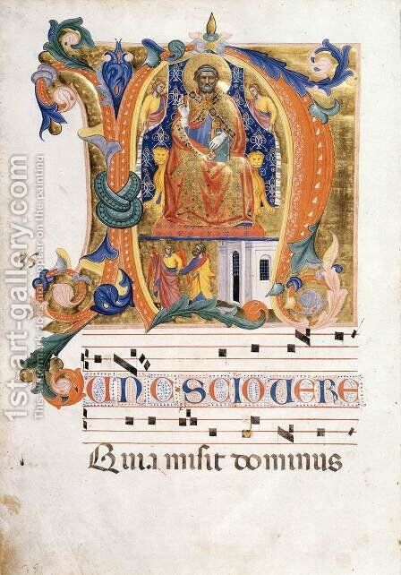 Antiphonary (Folio 35v) by Cenni Di Francesco Di Ser Cenni - Reproduction Oil Painting