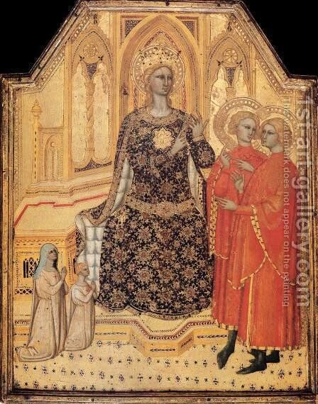 St Catherine Enthroned with Two Saints and Two Donors by Cenni Di Francesco Di Ser Cenni - Reproduction Oil Painting