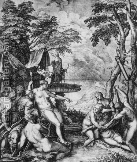 Diana and Callisto by Cornelis Cort - Reproduction Oil Painting