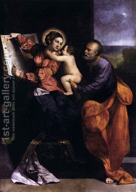 The Holy Family by Dosso Dossi (Giovanni di Niccolo Luteri) - Reproduction Oil Painting