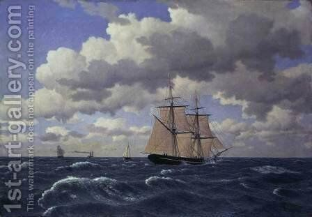 A Brig under Sail in Fair Weather by Christoffer Wilhelm Eckersberg - Reproduction Oil Painting