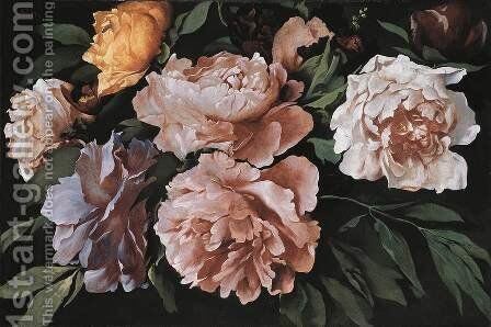 Peonies by Anselm Friedrich Feuerbach - Reproduction Oil Painting