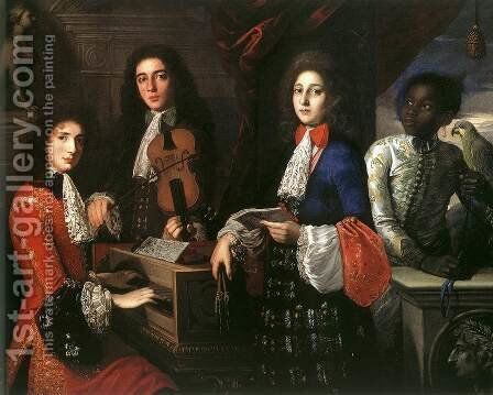 Portrait of Three Musicians of the Medici Court by Anton Domenico Gabbiani - Reproduction Oil Painting