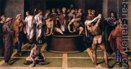 St Augustine Baptizes the Cathechumens by Girolamo Genga - Reproduction Oil Painting