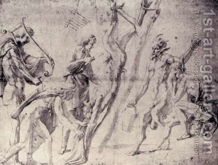 Flaying of Marsyas by Giulio Romano (Orbetto) - Reproduction Oil Painting