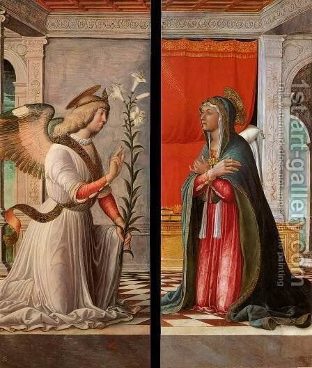 The Archangel Gabriel and the Virgin Annunciate by Jacopo da Montagnana - Reproduction Oil Painting