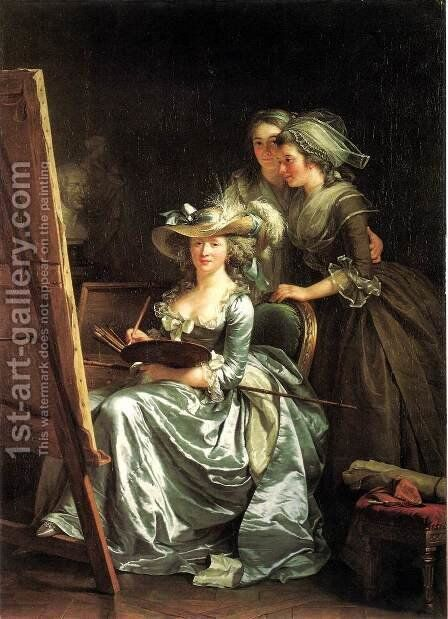 Self-Portrait with Two Pupils by Adelaide Labille-Guiard - Reproduction Oil Painting