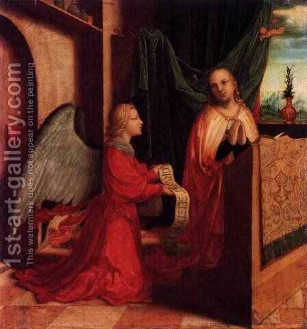 The Annunciation by Master Of Ab Monogram - Reproduction Oil Painting