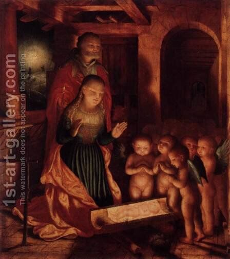 The Birth of Jesus by Master Of Ab Monogram - Reproduction Oil Painting