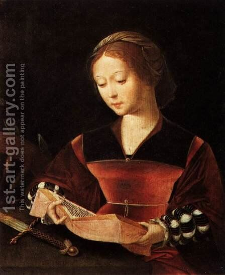 St Catherine by Master of Female Half-Figures - Reproduction Oil Painting