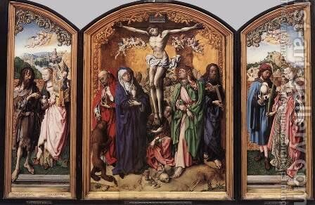 Crucifixion Altarpiece by Master of the St. Bartholomew Altarpiece - Reproduction Oil Painting