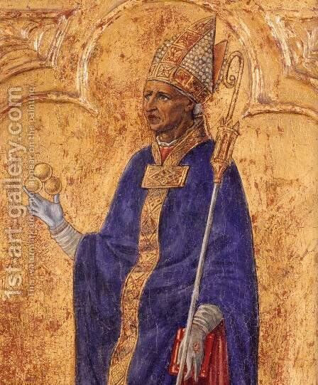 St Nicholas of Bari (detail) by Matteo Di Giovanni - Reproduction Oil Painting