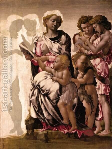 Virgin and Child with St John and Angels by Michelangelo - Reproduction Oil Painting