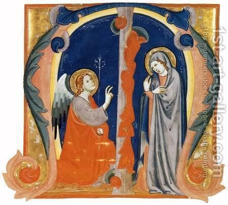 The Annunciation in an Initial M by Italian Miniaturist - Reproduction Oil Painting