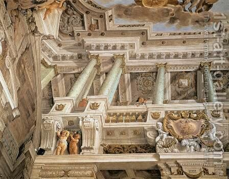 Ceiling fresco (detail) by Agostino Mitelli - Reproduction Oil Painting