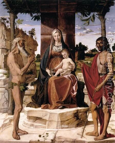 Madonna and Child under a Pergola with St John the Baptist and St Onofrius by Bartolomeo Montagna - Reproduction Oil Painting