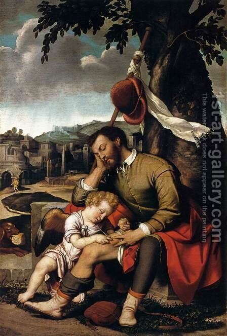 St Roch with an Angel by Moretto Da Brescia - Reproduction Oil Painting