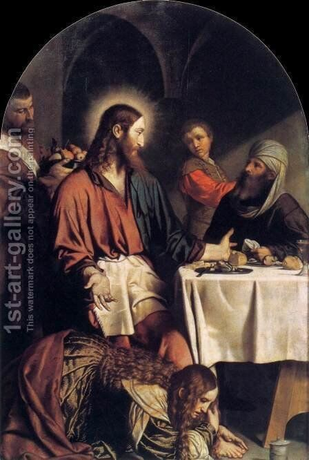 Supper in the House of Simon Pharisee by Moretto Da Brescia - Reproduction Oil Painting