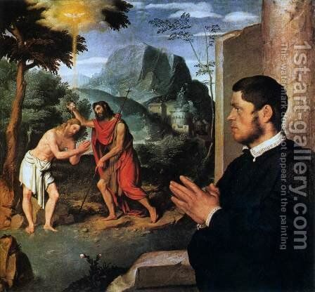 The Baptism of Christ with a Donor by Giovanni Battista Moroni - Reproduction Oil Painting