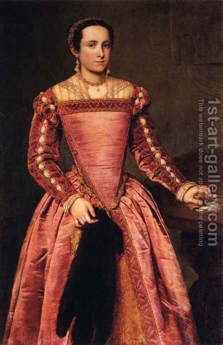 Woman in a Red Dress by Giovanni Battista Moroni - Reproduction Oil Painting