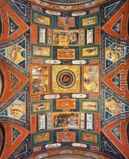 Ceiling decoration (Volta Dorata) by Baldassare Peruzzi - Reproduction Oil Painting