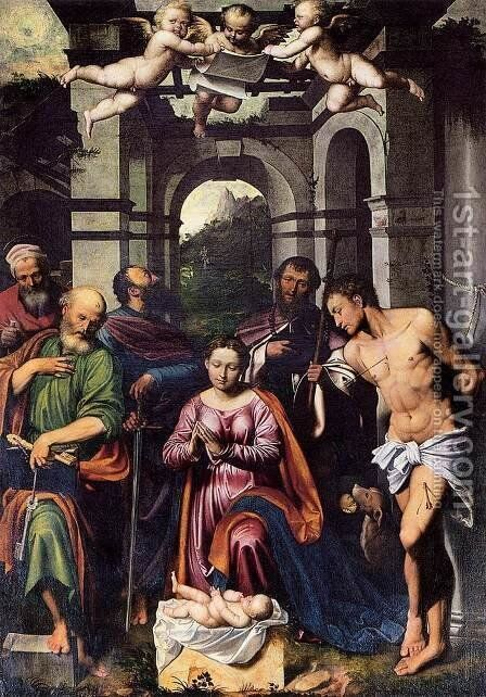 The Adoration of the Christ Child with Saints by Callisto Piazza Da Lodi - Reproduction Oil Painting