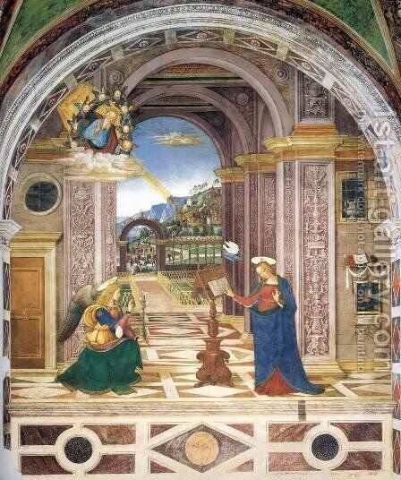The Annunciation 2 by Bernardino di Betto (Pinturicchio) - Reproduction Oil Painting