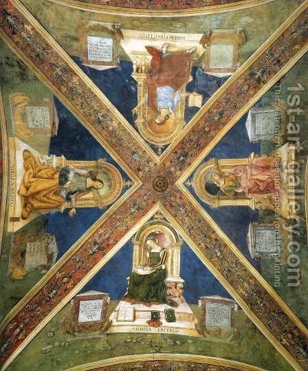 Four Enthroned Sibyls by Bernardino di Betto (Pinturicchio) - Reproduction Oil Painting