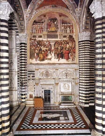 Entrance to the Piccolomini Library by Bernardino di Betto (Pinturicchio) - Reproduction Oil Painting