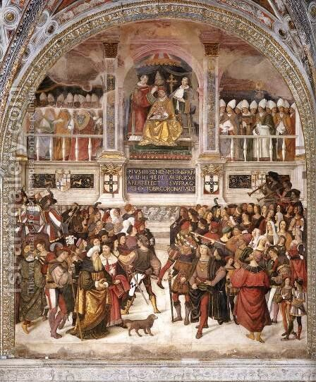 The Coronation of Pope Pius III by Bernardino di Betto (Pinturicchio) - Reproduction Oil Painting