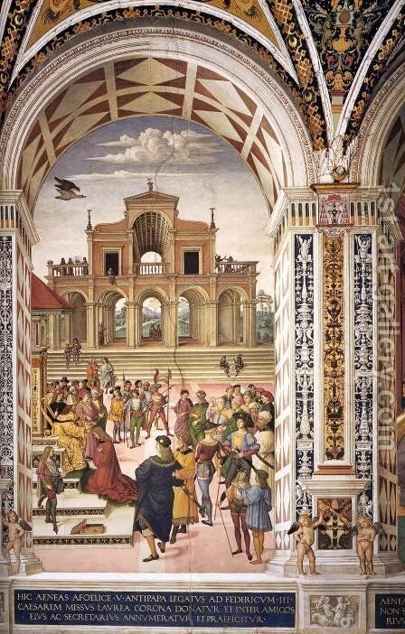 No. 3 Frederick III Crowning Enea Silvio Piccolomini with a Laurel Wreath by Bernardino di Betto (Pinturicchio) - Reproduction Oil Painting