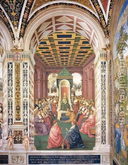 No. 4 Homage to Pope Eugenius IV in the Name of Emperor Frederick III by Bernardino di Betto (Pinturicchio) - Reproduction Oil Painting