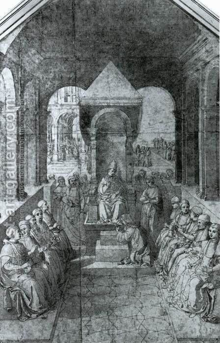Homage to Pope Eugenius IV in the Name of Emperor Frederick III by Bernardino di Betto (Pinturicchio) - Reproduction Oil Painting