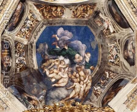 God the Father with Angels by (Giovanni Antonio de' Sacchis) Pordenone - Reproduction Oil Painting