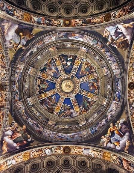 Decoration of the main dome by (Giovanni Antonio de' Sacchis) Pordenone - Reproduction Oil Painting