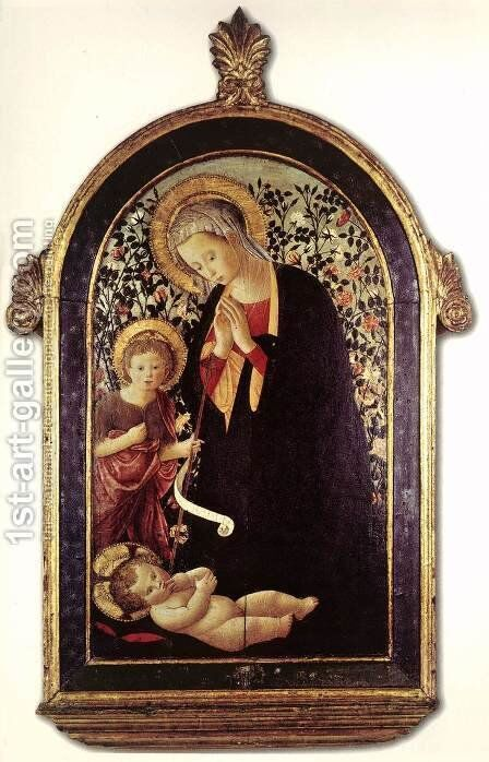 Adoration of the Child with the Young St John by (after) Pier Francesco Fiorentino - Reproduction Oil Painting