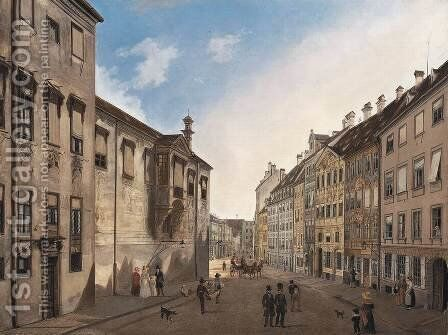 Residenzstrasse Looking Towards Max-Joseph-Platz in 1826 by Domenico II Quaglio - Reproduction Oil Painting