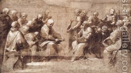 Design for the lower half of the Disputa by Raphael - Reproduction Oil Painting