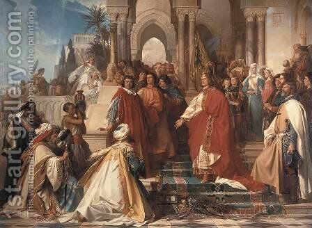 The Court of Emperor Frederick II in Palermo by Arthur Georges Baron Von Ramberg - Reproduction Oil Painting