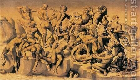 The Battle of Cascina by Da Sangallo Bastiano - Reproduction Oil Painting