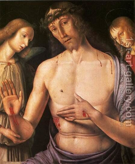Man of Sorrows by Giovanni Santi or Sanzio - Reproduction Oil Painting